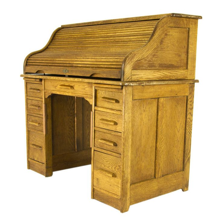 Antique RollTop Desk | Vintage Pedestal Desk | Oak Rolltop Desk | Canada| B860