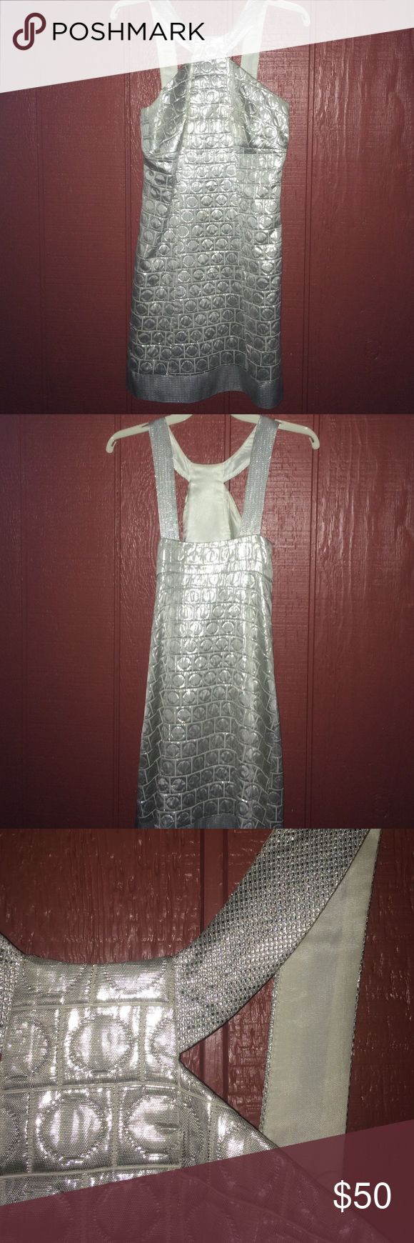Silver mini dress Silver mini dress by Jessica McClintock. Worn once to a school dance in 2008 😯 lol Jessica McClintock Dresses Mini