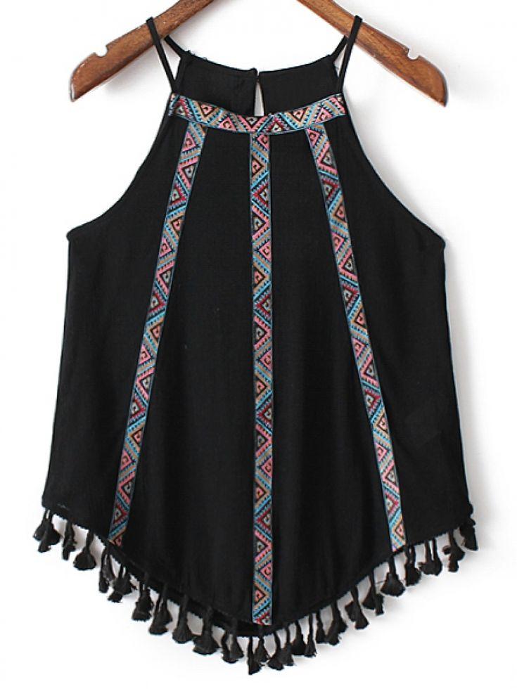 Black Fringed Hem Embroidery Spaghetti Strap Tank Top -SheIn(abaday)