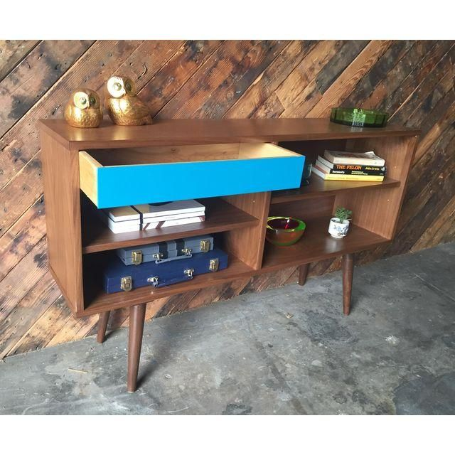 Image of Mid-Century Style Custom Credenza With Teal Drawer