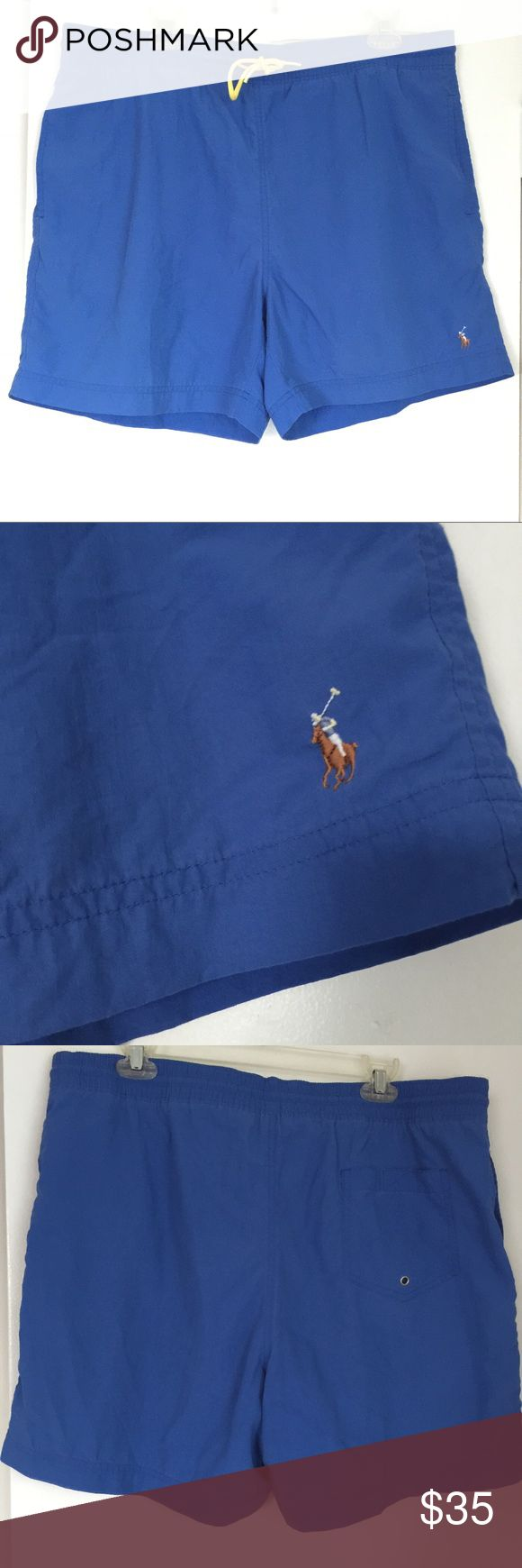 Ralph Lauren Polo Swim Trunks🏊🏄🏼 Men's Ralph Lauren Swim Trunks✖️🏄🏼 Size: L / Color: Blue with yellow details / Tie waist / Back Pocket / NWT In Mint Condition! / tags: swim suit, polo, sport Ralph Lauren Swim