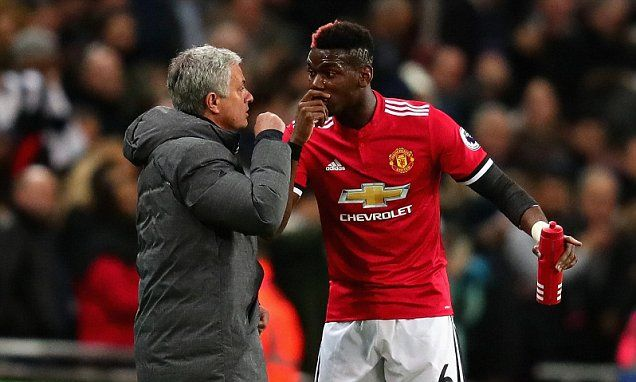 Man Utd's Mourinho and Paul Pogba in touchline argument