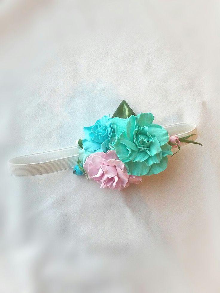 Детская повязка - резинка на голову с розочками из фоамирана, цветочная повязка на голову, веночек, ободок для волос. Kids headband, children's flower headband, foamiran, paper flowers
