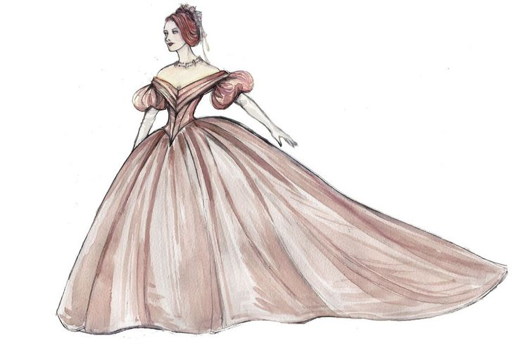 Costume illustration for Kelli O'Hara's Anna Leonowens in the 2015 Broadway revival of 'The King and I' by Catherine Zuber. #TheKingandI2015 #CatherineZuber