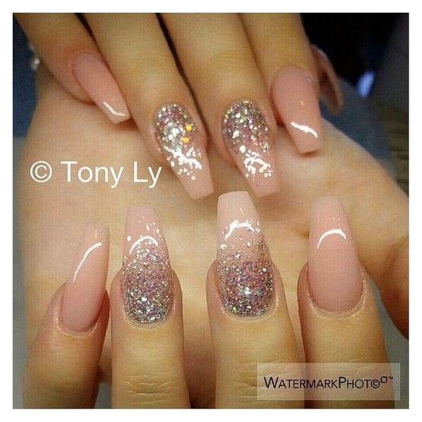 70+ Stunning Glitter Nail Designs ❤ liked on Polyvore featuring beauty products, nail care and nail treatments