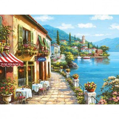 Puzzle 3000 pièces : Sung Kim : Café au bord de l'eau - Anatolian-ANA4909