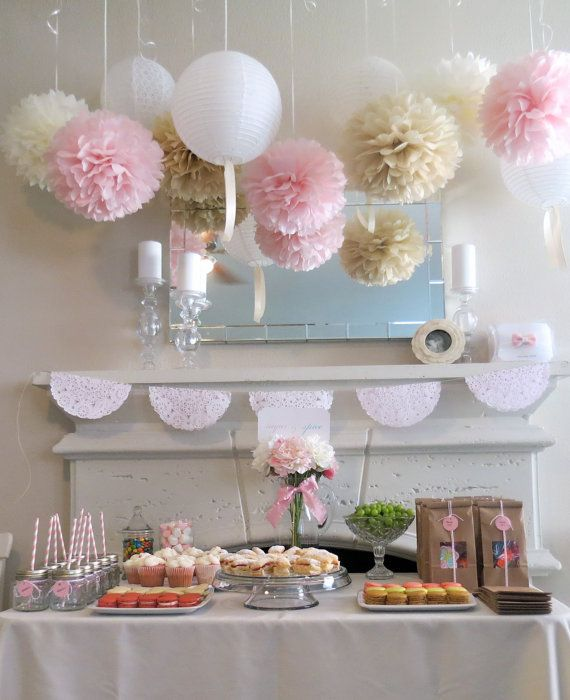 7 Pom Poms - Romantic Blush Paper Pom-Poms - More Colors Available - Wedding - Birthday - Nursery - Shower. $27.50, via Etsy.