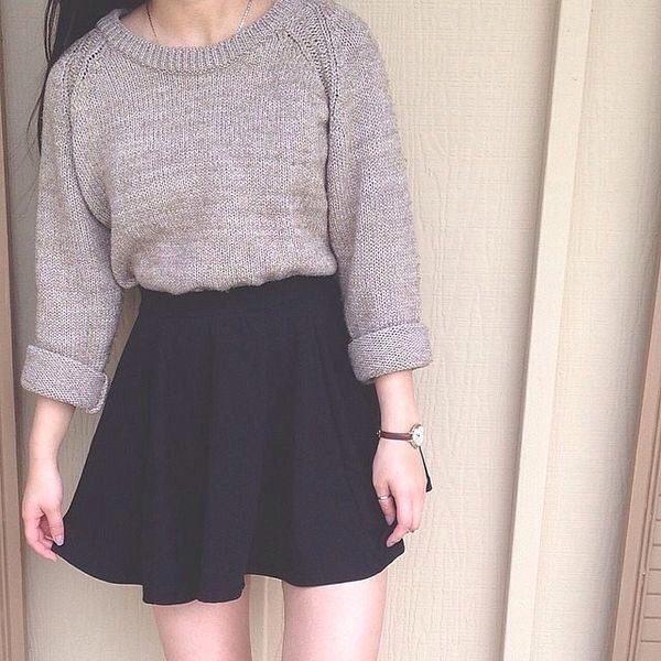 Gray crewneck sweater with a black skater skirt