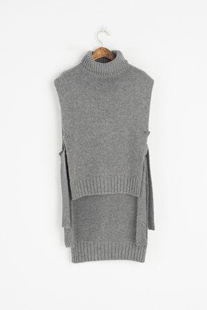 Lambs Wool Open Side Turtle Vest, Grey