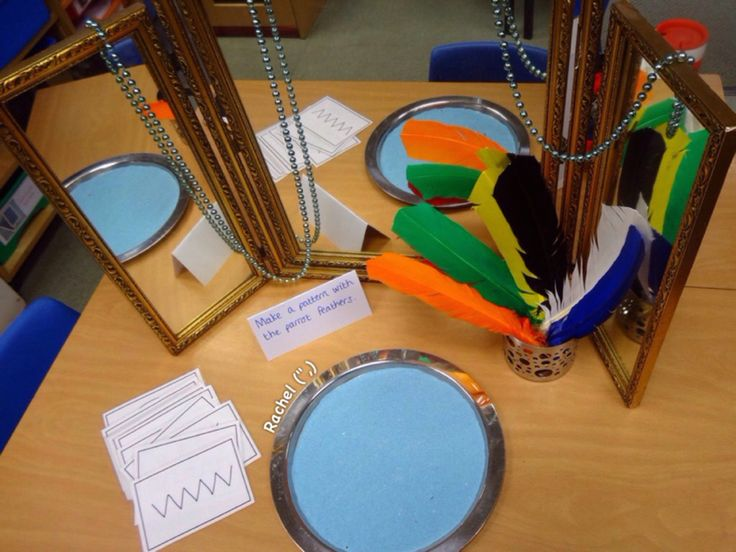 "Pirate fun - mark making in sand with 'parrot' feathers (free printable pattern cards) from Rachel ("",)"
