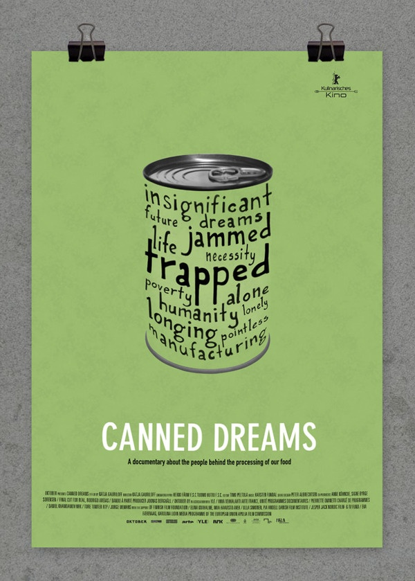 Canned Dreams (2012) by Rebecca Line, via Behance. Typography used to form an object. Food banks contains more canned food then any other food types in storage.