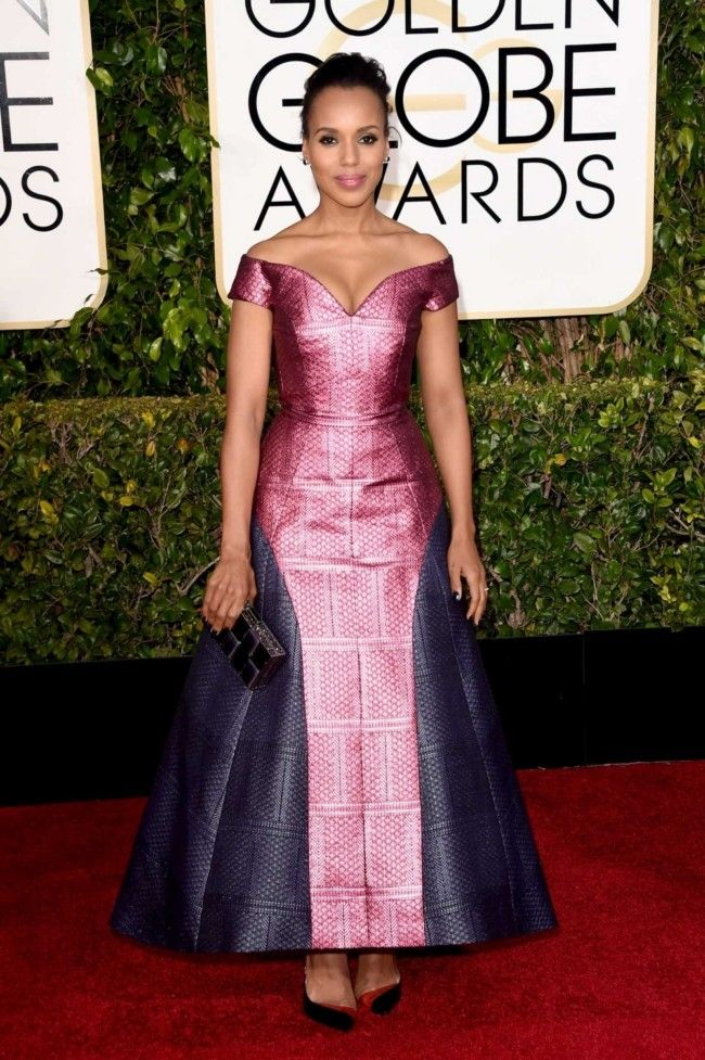 Golden Globes 2015: what they're wearing: Kerry Washington in custom Mary Katrantzou and Christian Louboutin shoes