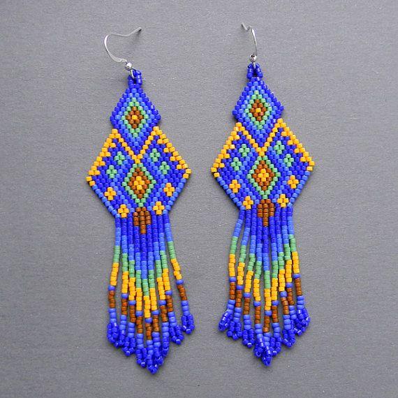 Dark blue seed bead earrings Peyote Earrings by Anabel27shop