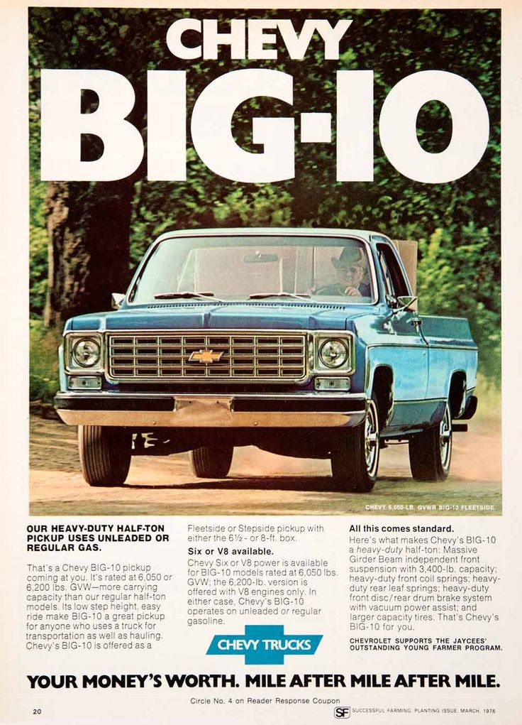1976 Ad Chevy Chevrolet Big-10 Fleetside Farmer Six Advertisement Truck SF4