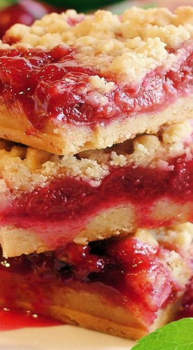 Cherry Pie Crumble Bars ~ Luscious cherry crumble bars made with homemade (Mom's Tart Cherry Pie Filling, recipe included) or prepared tart cherry pie filling and a crust that tastes like pie pastry! Perfect dessert bar for summer picnics!