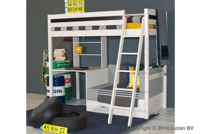Hoogslaper met bureau en grijs bankje uit de Thuka Trendy collectie. Een multifunctioneel bed met veel mogelijkheden.