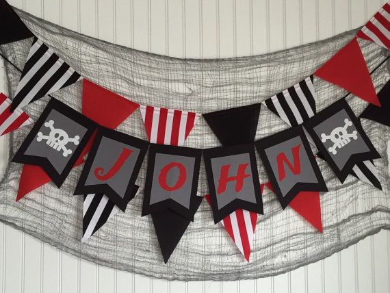 Custom name banner pirate banner pirate party by ThePartyOrchard