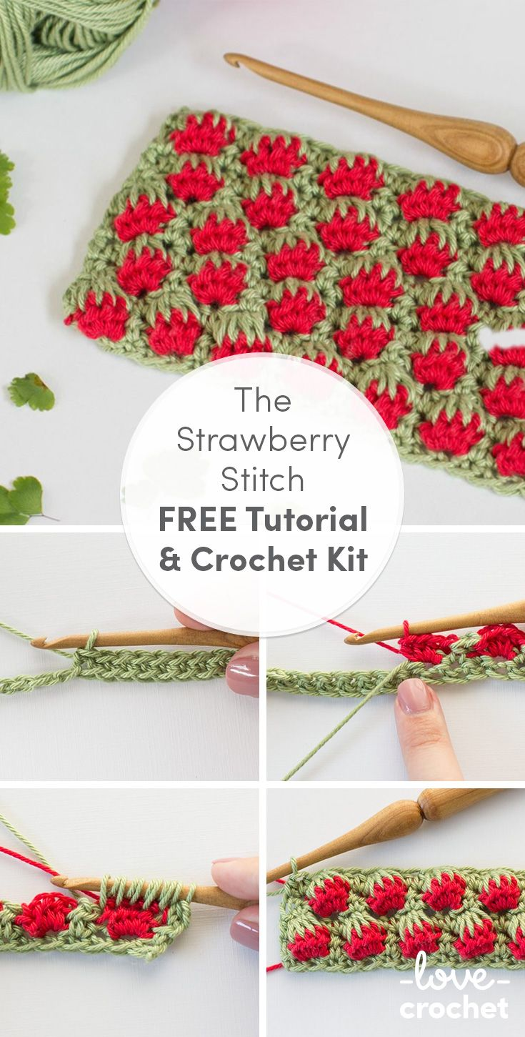 Learn how to crochet this adorable strawberry stitch with a FREE tutorial on the LoveCrochet blog.