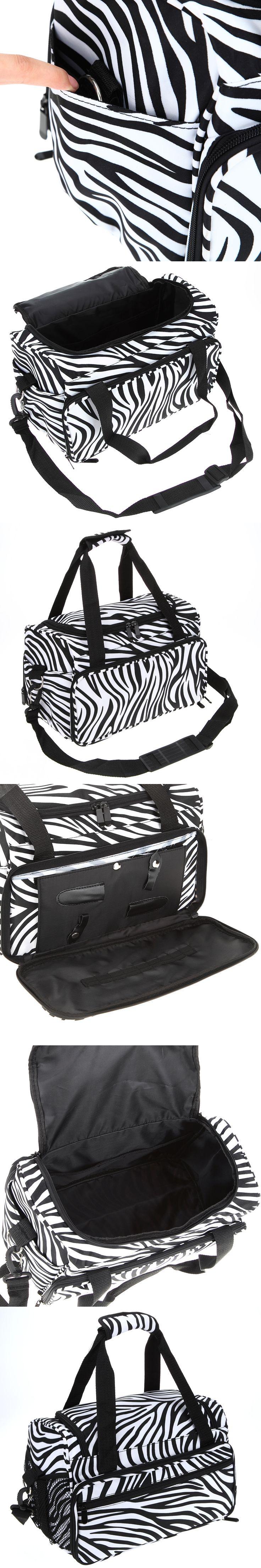 Pro Hairdressing Tools Bag Canvas Zebra Design Handbag Stored Scissors Clips Salon Barber Portable Storage Toolkits