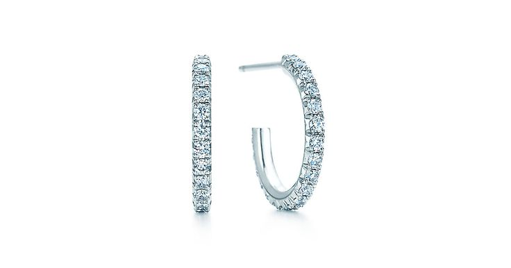 Tiffany Metro hoop earrings in 18k white gold with diamonds, small.