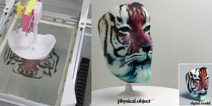 Prior to this innovation, hydrographic printing has been limited by practicality to a method for adding repetitive or abstract coloring to a 3D object. The texture map data collected drives the creation of a film prepared for the specific surface and the rest is as close to magic as it gets. In the video released, a white 3D printed mask is submerged into the bath onto an image that would have made Picasso proud and yet emerges with the coloring of a tiger perfectly placed on its surface.