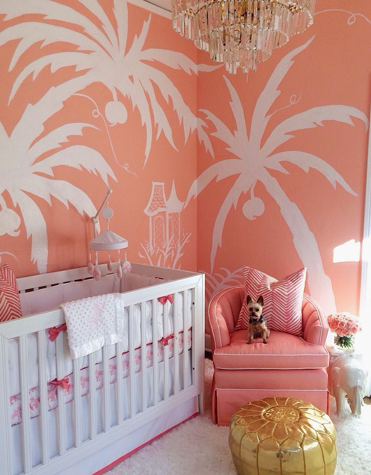 Palm Beach nursery. Coral walls with white Palm tree mural