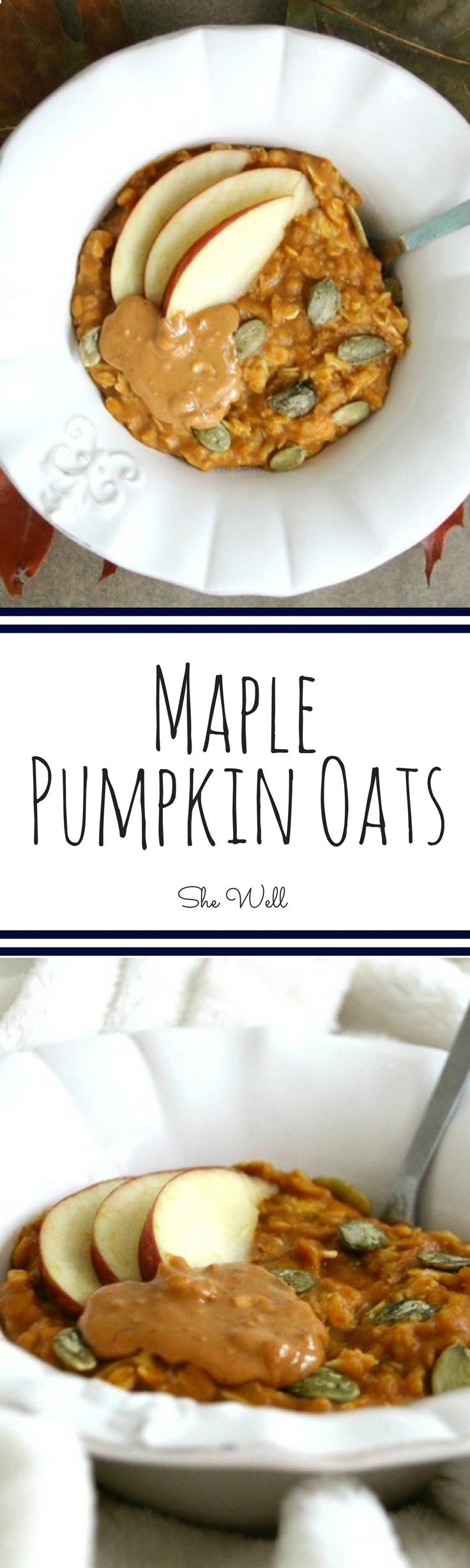 These Maple Pumpkin Oats are the perfect easy breakfast! Great for people who are vegan, vegetarian and dairy-free! Repin to click now or save for later!