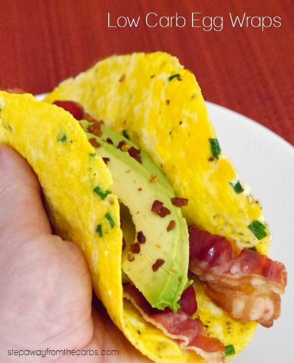 Low Carb Egg Wraps - non-stick spray, egg, chive, salt & pepper, fillings of choice (e.g. cooked bacon, avocado, deli meat, cheese, veggies, hummus, guacamole)