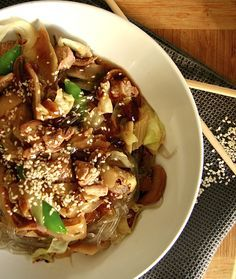 Pork Chop Suey, paleo, slowcooker.. I need to find these sweet potato noodles! They look like cellophane noodles