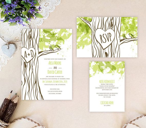 Tree themed wedding invitation packages  Rustic by OnlybyInvite