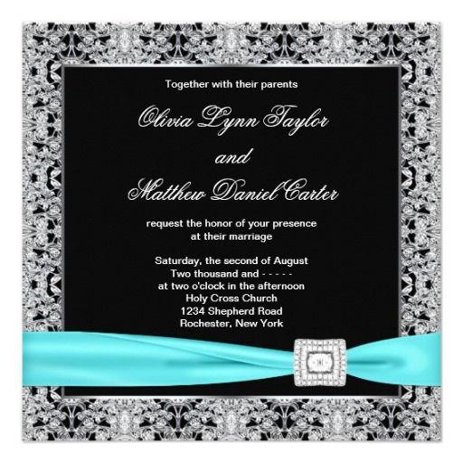 Teal Blue Black Silver Lace Classy Wedding Invitation