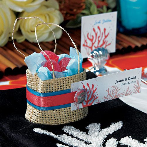 These miniature natural bags can be dressed up to co-ordinate with a range of wedding themes. Add shells, flowers or a simple bow to create a favor package with your own distinctive style. Available for purchase online at http://madelinesweddings.weddingstar.com/product/natural-miniature-woven-beach-bags