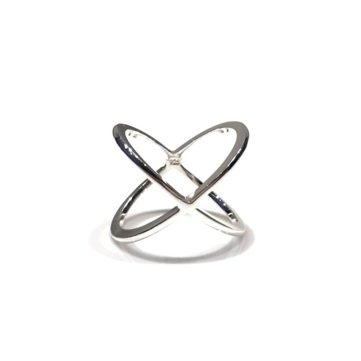 Silver X Criss Crossed Ring
