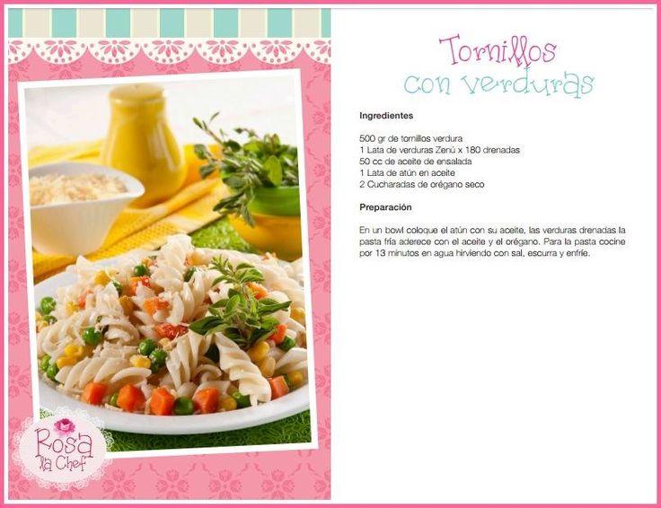 Tornillos con verduras