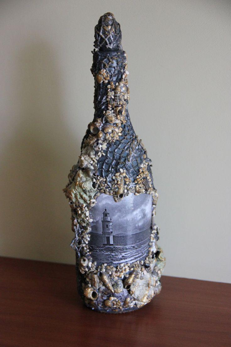 """Декорирование бутылки """"Маяк"""" (bottle decoration)."""
