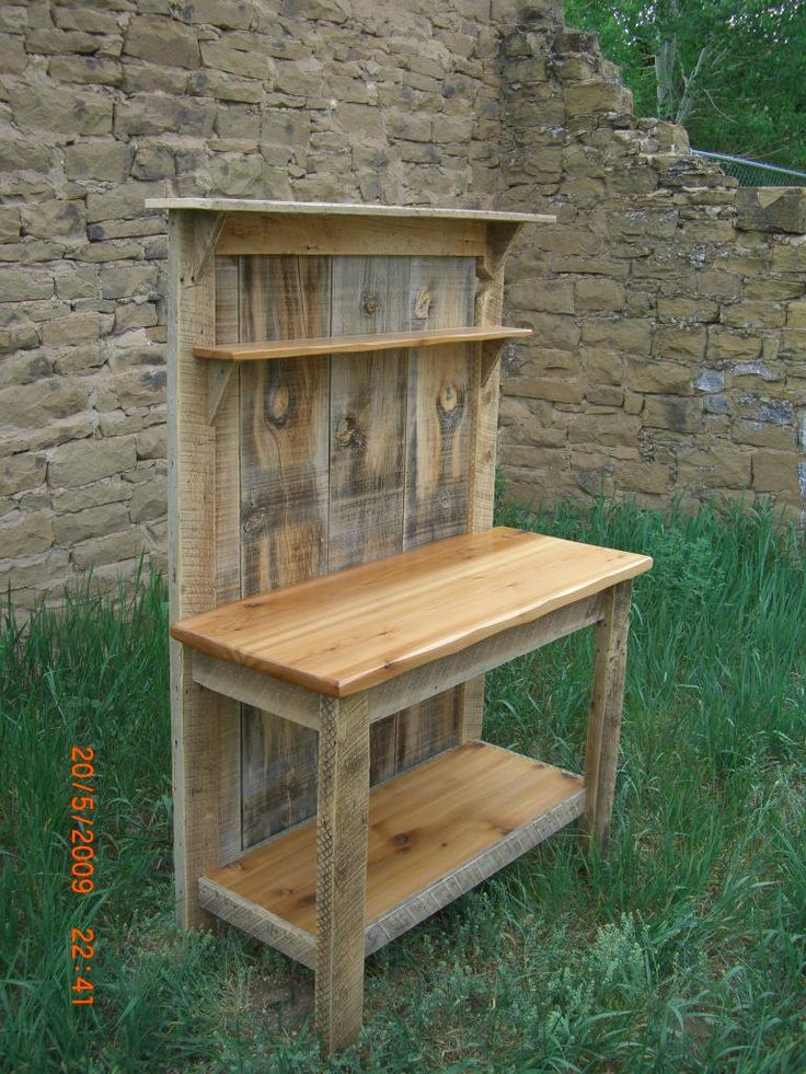 Cedar Wood Furniture Plans ~ Barnwood cedar potting bench my woodworking shed