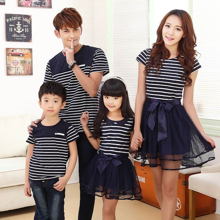 2017 Summer mother and daughter stripe dresses children clothes matching family girl boy clothing look outfits father son style