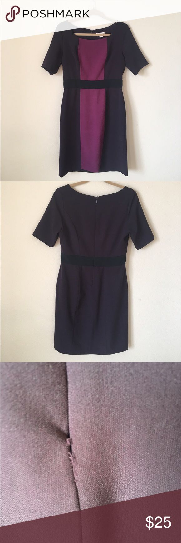 Color block purple work dress, size 8 Coldwater Creek Color block purple work dress, size 8. Stitching is coming apart at bottom hem (see photo) and at the base of the zipper (see photo). A little sewing TLC and it would be as good as new! Coldwater Creek Dresses