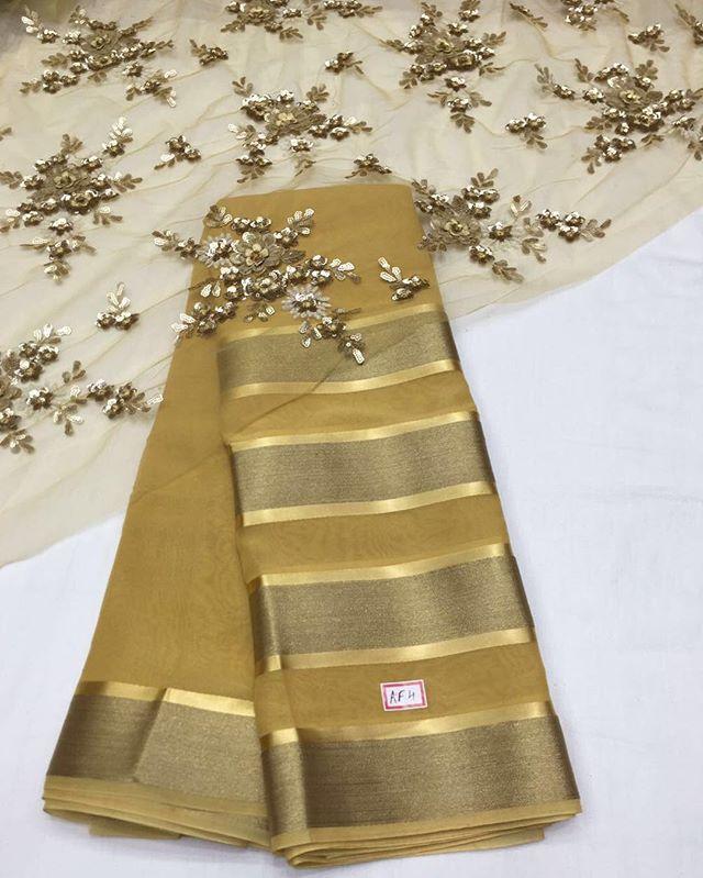 Saree Chiffon zari rich pallo with stone along with running blouse To purchase…