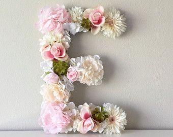 Floral Letter Nursery Letter Flower Letter by BegoniaRoseCo