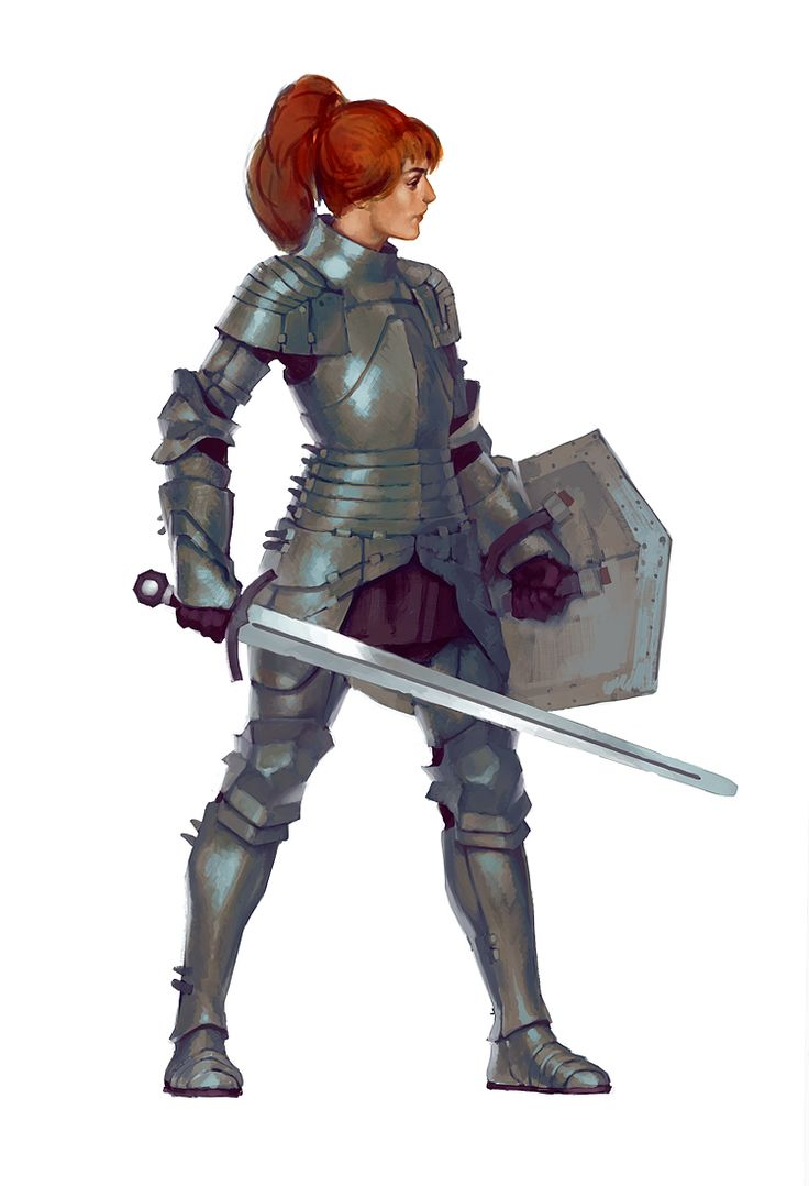 red hair fantasy human long hair Knight medieval sword armor shield ponytail Character art female armor plate armor