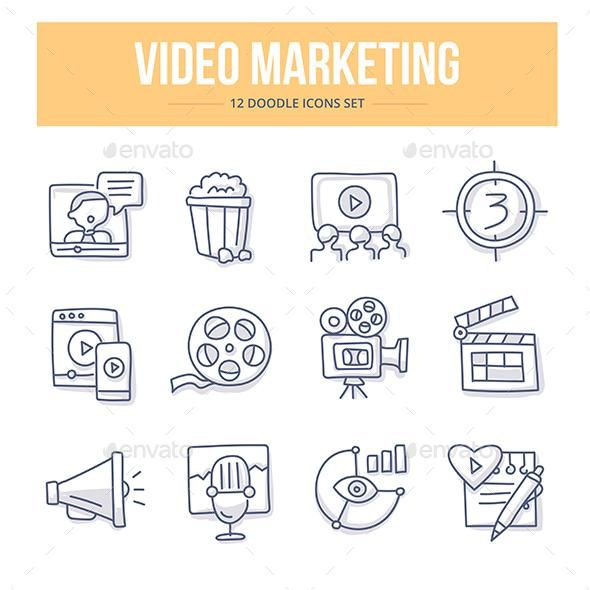 Video Marketing Doodle Icons – GraphicRiver #icon #GraphicDesign #design #technology #BestDesignResources