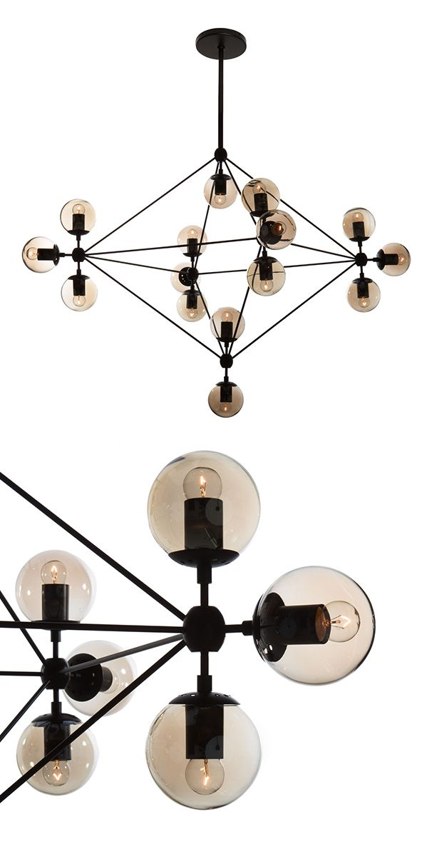 Artfully constructed from carbon steel and glass, this chandelier screams industrial-modern style, offering a retro flair in any indoor setting. Its geometric, multidimensional form elegantly contrasts...  Find the Celestial Galaxy Chandelier, as seen in the Mid-Century A-Frame in Yosemite Collection at http://dotandbo.com/collections/mid-century-a-frame-in-yosemite?utm_source=pinterest&utm_medium=organic&db_sku=DBI9053