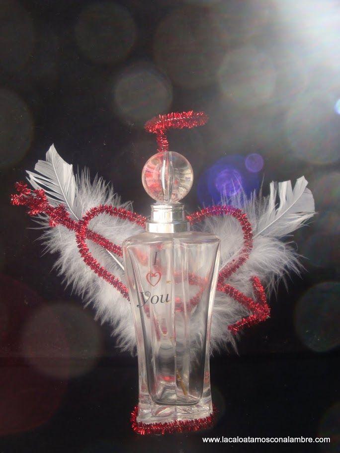 Angelito para regalar en san valent n realizado con frasco - Botellas para perfumes ...