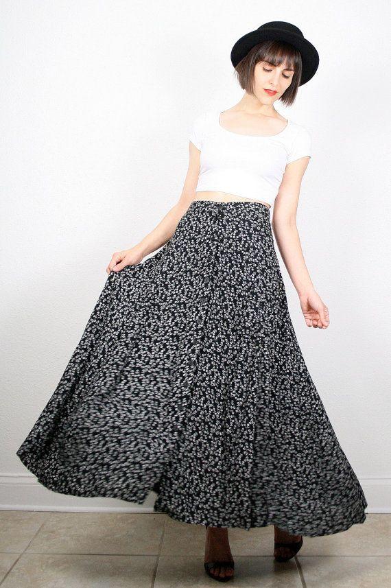 Vintage 90s Maxi Skirt Black White Floral Print Skirt Midi Skirt Soft Grunge…