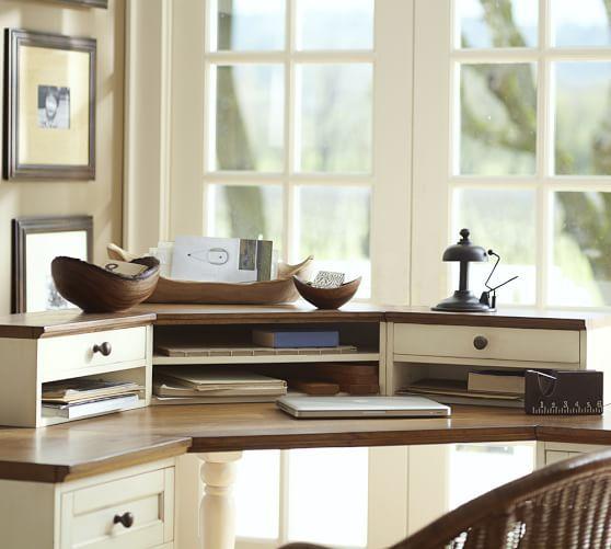 Whitney Corner Desk Hutch, Almond White with Honey stain