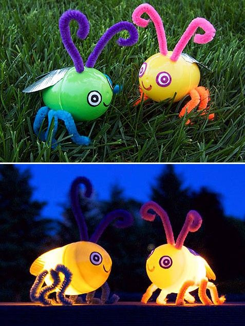 Get a small flameless LED tealight and place it into a plastic egg. (You can use glue to keep the light in place, but it's not necessary.) Next, use a thumbtack to poke holes through the egg to insert the pipe cleaners. Draw a pair of cute little bug eyes onto while sticky labels. Finally, sculpt wings using duct tape. Now set this little critter outside and watch it glow!