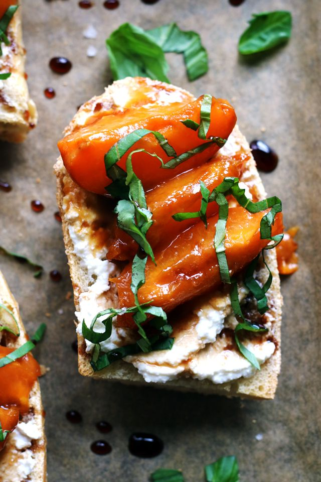 Caramelized apricots are paired with basil and fresh ricotta in these truly delectable toasts that are perfect for breakfast, lunch, or easy summer appetizers.