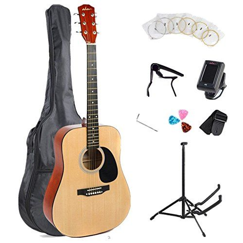 ADM 41 Inch Full Size Dreadnought 6 Steel Strings Acoustic Guitar Kit/Bundle with Gig Bag, Stand, Capo, Strap, Tuner, Strings and Picks-Natural Gloss - http://guitars.nationalsales.com/adm-41-inch-full-size-dreadnought-6-steel-strings-acoustic-guitar-kitbundle-with-gig-bag-stand-capo-strap-tuner-strings-and-picks-natural-gloss/