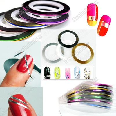 Color stripping tape for nails! I have these!!: Art Decor, Stripes Tape, Decor Stickers, Rolls Stripes, Colors Rolls, 18 Colors, Tape Nails, Line Nails Art, Nail Art
